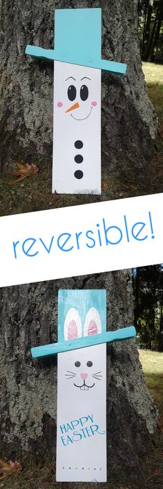 Make your front porch decor work overtime for you!  DIY reversible front porch decor wood sign.