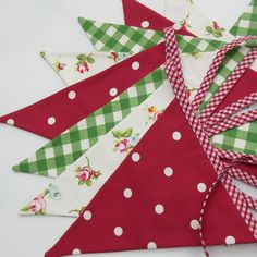 Items similar to Fabric Bunting Christmas Decor Red Green White 10 double sided flags 9 foot long plus ties on Etsy Retro Christmas Decorations, Christmas Bunting, Christmas Sewing, Christmas Love, Christmas Projects, Handmade Christmas, Christmas Holidays, Christmas Ornaments, July Holidays