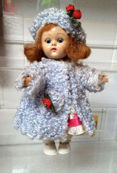 1950 Painted Lash Vogue Ginny Doll wearing Tagged Blue Poodle Coat