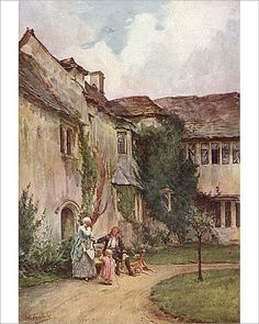 10x8 Inch (25x20cm) Print. People outside an old manor house at Westwood, Dorset Date: 18th century. manor, westwood. Image supplied by Mary Evans Prints Online