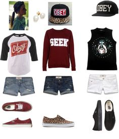 """obey skater girls outfit"" by cookiemonster15-1 on Polyvore"