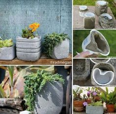 garden planters, home made from recycled containers...