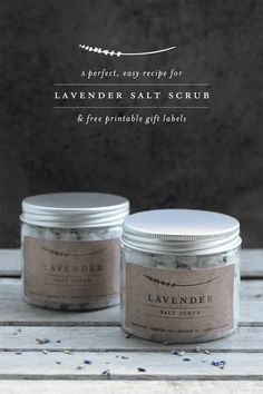 Lavender salt scrub by Miss Marzipan   1 MINUTE, 4 INGREDIENTS! - a quick, thrifty and beautiful homemade spa-in-a-jar DIY gift If you're looking for a last-minute, DIY-style Christmas or hostess gift, this is just the ticket. It really works. Not only will it leave your skin cleansed and moisturised, but you will smell gorgeous too. It is inexpensive to make, simple to prepare (my toddlers helped me make it!) and is a lovely homemade gift. Free printable labels!