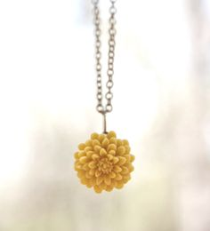 Mustard Yellow Chrysanthemum Flower Necklace by peachtreelane, $14.00. I would love this in another color!!!