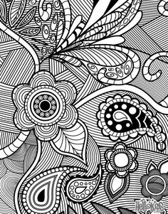 An adult coloring page featuring flowers and paisleys.