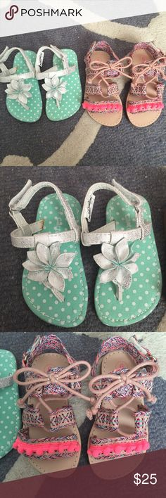 Toddler girls sandals NWOT Never worn toddler girls sandals! Multi-colored boho strappy ones are by Cat & Jack and are size 6. Silver/white flower ones are Carter's size 5. Neither have been worn. Inside of the Carters one has what looks like the shoe glue- as shown in pic Cat & Jack Shoes Sandals & Flip Flops