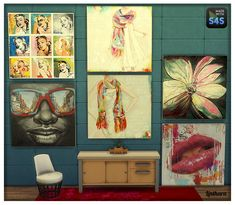 """Lintharas Sims 4: Paintings """"touch of colours""""  and Paintings """"wood"""" • Sims 4 Downloads"""