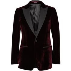 Alexander McQueen Bordeaux velvet tuxedo jacket (94.545 RUB) ❤ liked on Polyvore featuring men's fashion, men's clothing and alexander mcqueen