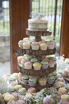 Pastel Wedding Cupcake Tower / http://www.deerpearlflowers.com/rustic-wedding-cupcakes-stands/