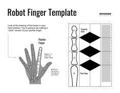 """Robot Finger Template Look at the drawing of the bones in your hand (below). You're going to be making a Fingertip """"robot"""" version of your pointer finger. 1 Bone Pointer Finger 2 1 Bones 1, 2, 2 and 3 are finger bones. 3 3 4 Bone 4 is... Cool Science Experiments, Science For Kids, Make A Robot, Robot Hand, Finger, Mystery Science, Animal Cell, Steam Activities, Palm Of Your Hand"""