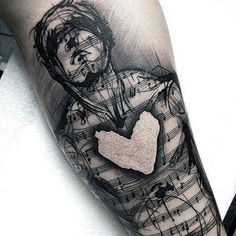 Man With Shaded Black Musical Notes And Heart Tattoo On Wrists For Guys #TattooIdeasForGuys