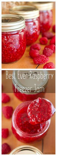 Best Ever Raspberry Freezer Jam homemade easy recipe berries – Food Recipes Freezer Jam Recipes, Jelly Recipes, Canning Recipes, Fruit Recipes, Sweet Recipes, Freezer Meals, Delicious Recipes, Raspberry Freezer Jam, Recipes