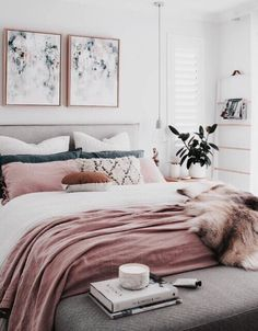 Home Decoration Ideas: A chic modern bedroom with a white, grey, and blush pink color scheme. The faux fur throw adds a touch of glamour to this contemporary girly room - Unique Bedroom Ideas & Decor. Suites, My New Room, Home Bedroom, Pink Master Bedroom, Target Bedroom, Master Suite, Blue Carpet Bedroom, Peach Bedroom, Summer Bedroom