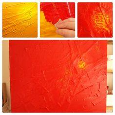 Schilderij Spoor van liefde I | de totstandkoming - verf aanbrengen | voor het eindresultaat zie http://marloesvanzoelen.nl/schilderijen/spoor-van-liefde-i/?