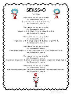 Freebie song for Poetry Binders/Read Across America. Dr Seuss Activities, Book Activities, Movement Activities, Kindergarten Graduation, In Kindergarten, Dr Seuss Crafts, Read Across America Day, Dr Seuss Week, Preschool Music