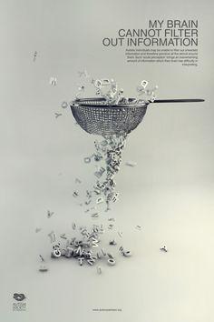 Autism Awareness Campaign by Hina Nazir, via Behance.    Campaña de Concienciación sobre el Autismo,síntomas y signos asociados con el autismo en los símbolos e imágenes