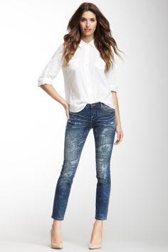 idea- stencil over jeans with bleach in a spray bottle- The Stick Shift Cigarette Jean