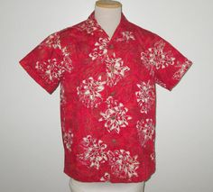 Vintage 1950s Red Hawaiian Floral Shirt By Shaheen Distinctive Sportswear For Discriminating People - Size M by SayItWithVintage on Etsy