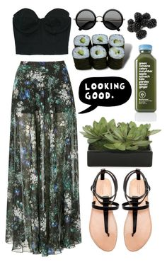 """radio"" by sixtwenty-one ❤ liked on Polyvore featuring Topshop, The Row, Zara, Jura, Lux-Art Silks, ESPRIT, thong sandals, bustier tops, maxi skirts and bustier"