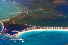 Aerial view of the Yucatan coastline.