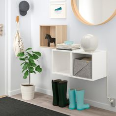EKET Wall-mounted cabinet combination - white stained oak effect, white - IKEA Ikea Shelves Bedroom, Hallway Storage, Wall Storage, Storage Spaces, Ikea Eket, Ikea Malm, Ikea Inspiration, Ikea 4 Cube Storage, Ikea Cubes