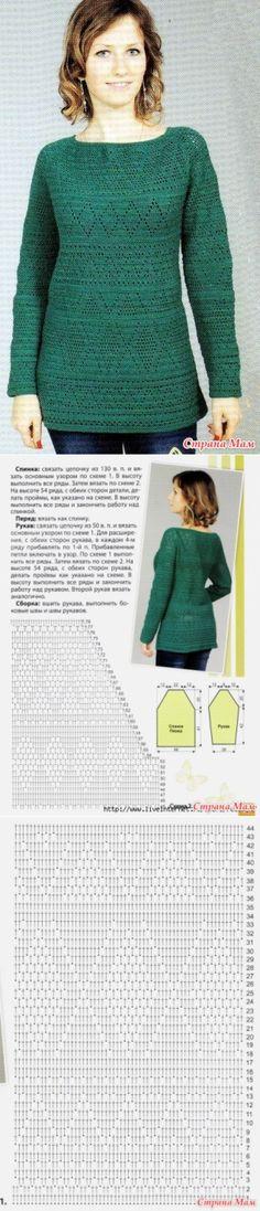 . Пуловер крючком с рукавом-реглан - Вязание - Страна Мам