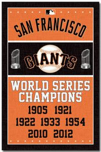 SAN FRANCISCO GIANTS - WORLD SERIES CHAMPIONS POSTER - 22x34 BASEBALL MLB 6716....
