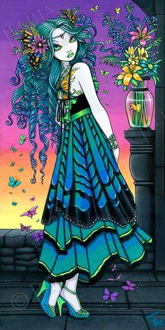 Mariposa Rainbow Butterfly Sunset Flower Fairy 13 X 19 inch Art Print by Myka Jelina