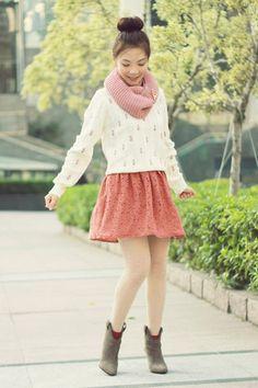 Sweater & Skirt. Pink, Cream, Gray.