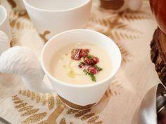 "White Velvet Soup ('Tis the Season Open House) - Giada De Laurentiis, ""Giada's Holiday Handbook"" on the Food Network. Giada Recipes, Soup Recipes, Cooking Recipes, Yummy Recipes, What's Cooking, Free Recipes, Parsnip Recipes, Cooking Ideas, Recipes"
