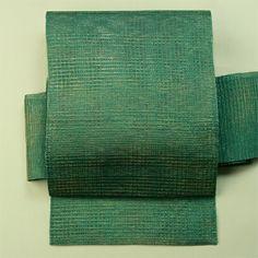Blue green, hassun nagoya obi for summer / 青味の緑地に金を添えた格子柄紗の八寸夏物