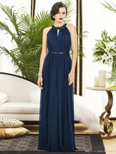 Wholesale Bridesmaid Dresses - Buy 2014 Sexy Bridesmaid Dresses Floor Length Size Color Available Halter Chiffon Sheath Bridesmaids Dresses Wedding Party Dress, $49.6 | DHgate