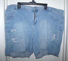Lane Bryant Womens Blue Denim Jeans Shorts Distressed Destroyed Size 28 #LaneBryant #CasualShorts