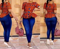 Ladies Ankara Tops For Jeans, ankara top styles with Jean shorts, ankara too with Jean trousers, perfect Ankara tops design for ladies, hot Ankara styles for jeans to match African Inspired Fashion, African Print Fashion, Africa Fashion, African Blouses, African Tops, African Women, African Print Dresses, African Fashion Dresses, African Dress