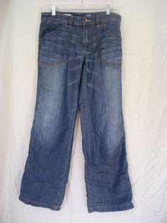 Anthropologie Pilcro Denim Wide Leg Carpenter Super Soft Stretch Jeans sz 28 x 3 #Pilcro #Carpenter