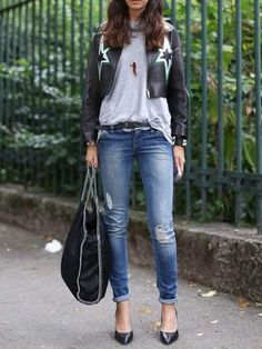 Cropped leather jackets + distressed skinny jeans.