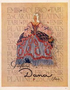 """""""Facon Marrec"""" by Dana Parfumes,18th Century Costumes, 1946  #vintage #ad"""