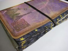 Book of Shadows Journal Steampunk Shabby Chic Mini Album Coffee Dyed Paper Pockets Tags Metal Charm Locket Gold Key