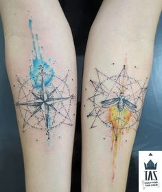 Watercolor Compass Tattoos, love the one on the left, great work