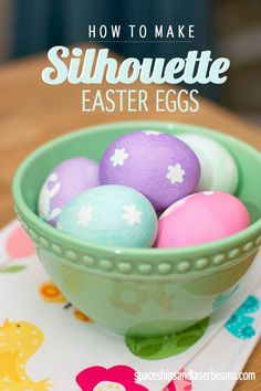 We are LOVING this unique way to dye eggs! Silhouette Easter eggs are a  great way to add an extra touch of spring to your table.