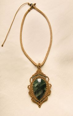 Macrame necklace with Moss Agate natural stone by Amonithe on Etsy, $40.00
