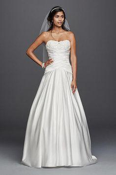 0773f0f8afc David s Bridal Satin Beaded Lace Applique A-Line Wedding Dress WG3789 Davids