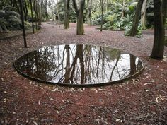 Garden, water mirror, original, architecture, landscaping, modern landscape architecture, little lake. Gulbenkian Garden.