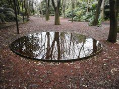 Garden, water mirror, original, architecture, landscaping, modern landscape architecture, little lake. Gulbenkian Garden.