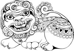 Tibetan Snow Lion Drawing snow lion stock vector art 42624276 - istock