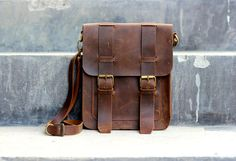 Mens Leather Satchel / Ipad Mini Messenger / Leather Man Bag / Shoulder / Bag - Distressed Leather Bag / Leather Bags and Purses
