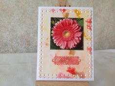 Lyn's work.  Topper using decoupage panel (flower) mounted onto die cut marbled paper, then matted on linen effect card.