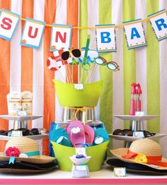 #summerparty create a fun sun bar for your guests: lotion, hats, sunglasses, spray bottles, flip flops