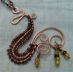 Copper Wire Weaving Necklace by GraphicThreads on Etsy, $20.00