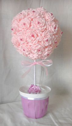 rose topiary tree with crepe paper